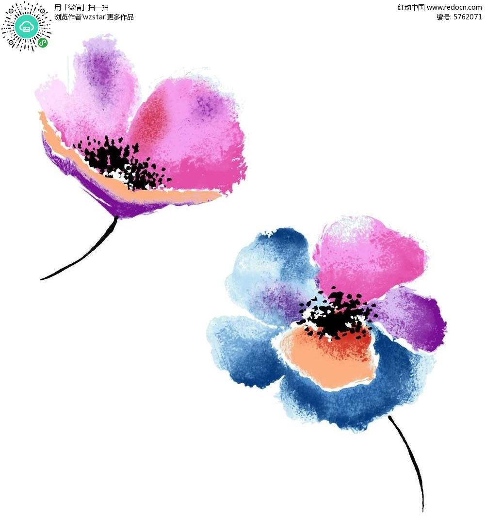 唯美彩色花瓣的手绘花朵素材