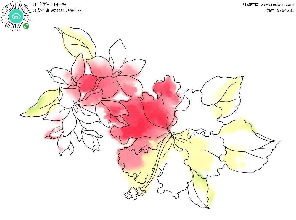 艺术彩绘花叶背景素材PSD免费下载 编号5764281 红动网