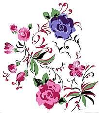 水墨风格彩色花朵花瓣创意插画设计文件展示