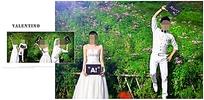 绿色自然野外婚纱照模板