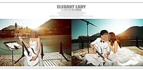 码头婚纱照照片模板素材PSD格式