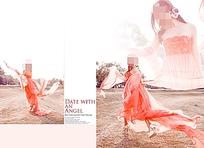 动感红色婚纱psd素材