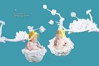 挂在枝头的宝贝创意摄影海报模板PSD