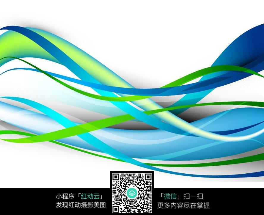 蓝绿色优美线条模糊背景素材