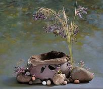 创意鸟窝与小花
