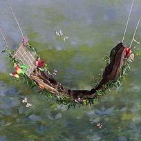蝴蝶鲜花与吊床