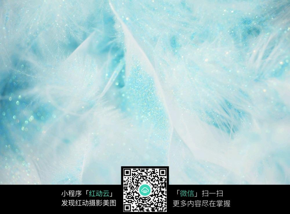 蓝色水晶羽毛模糊背景素材