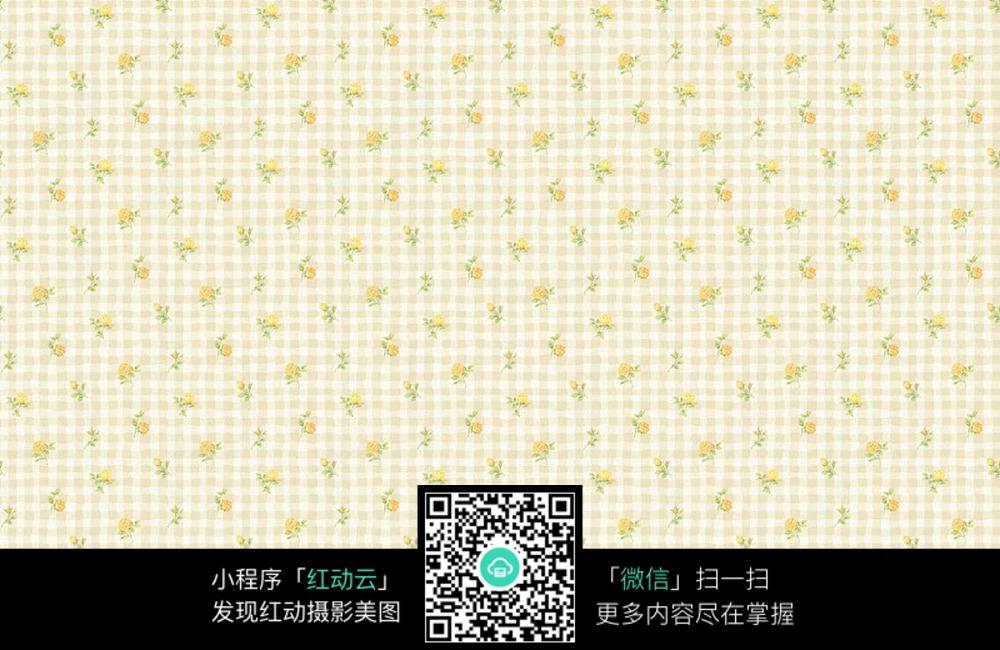 格子背景黄色小花图片素材图片