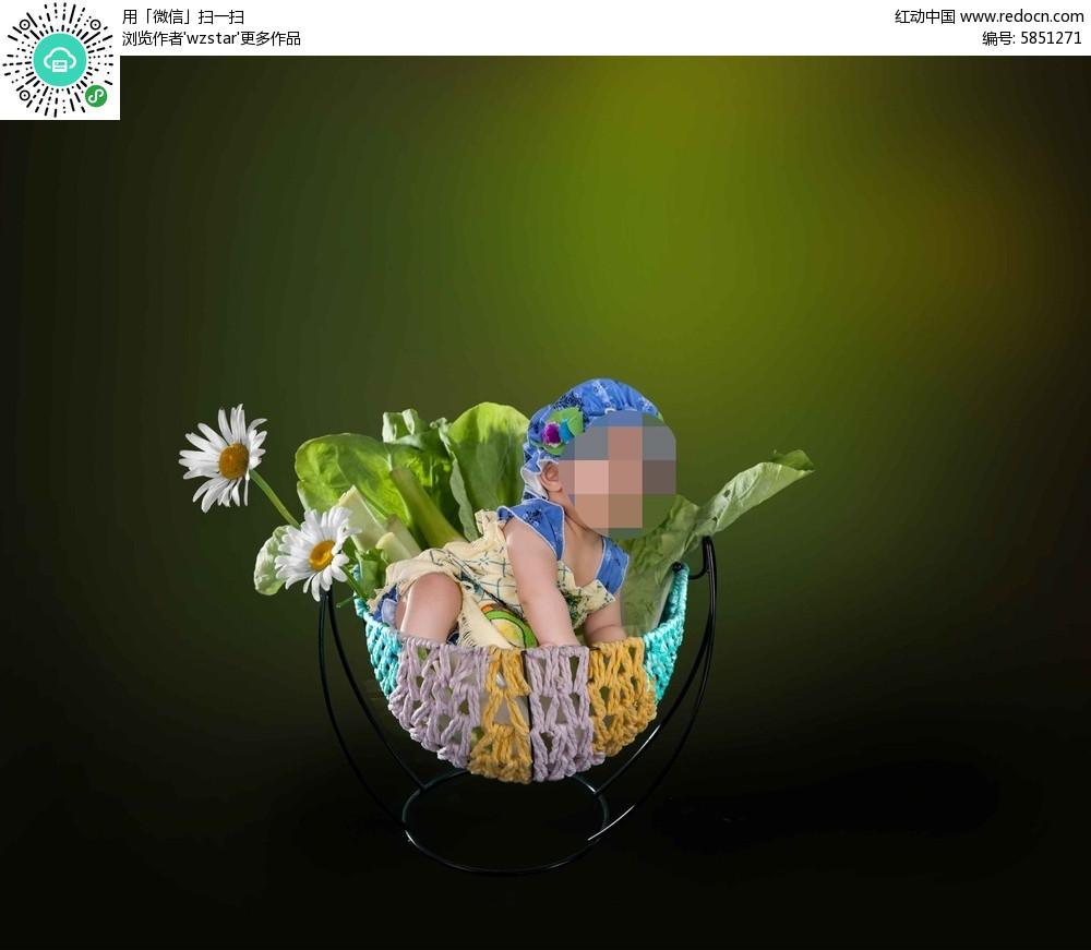 花卉儿童摄影图片