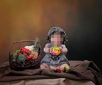 蔬菜儿童摄影