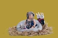 小孩与兔子儿童摄影