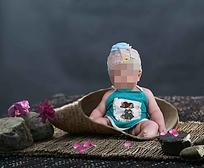竹席上的宝宝儿童摄影