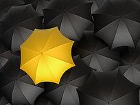 黄色雨伞与黑色雨伞