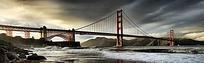 江水上的一座大桥摄影图