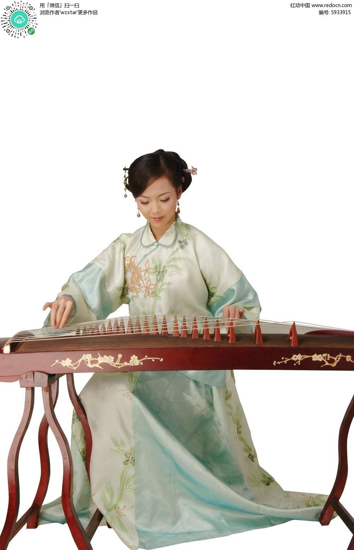 典雅气质美女弹古筝素材