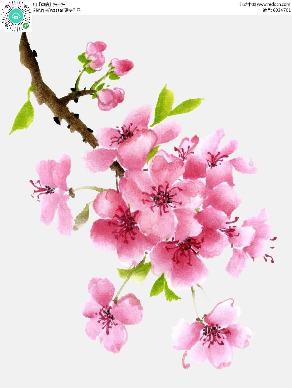 粉色桃花水彩画背景素材