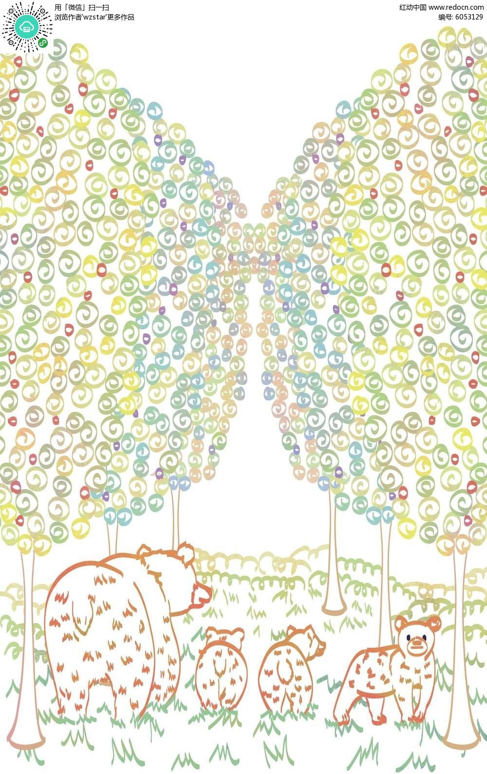 图案森林卡通背景素材图片