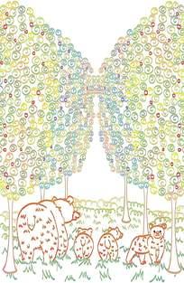 图案森林卡通背景素材