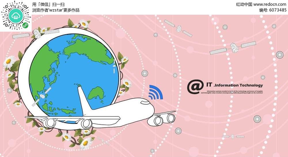 地球飞机海报背景素材
