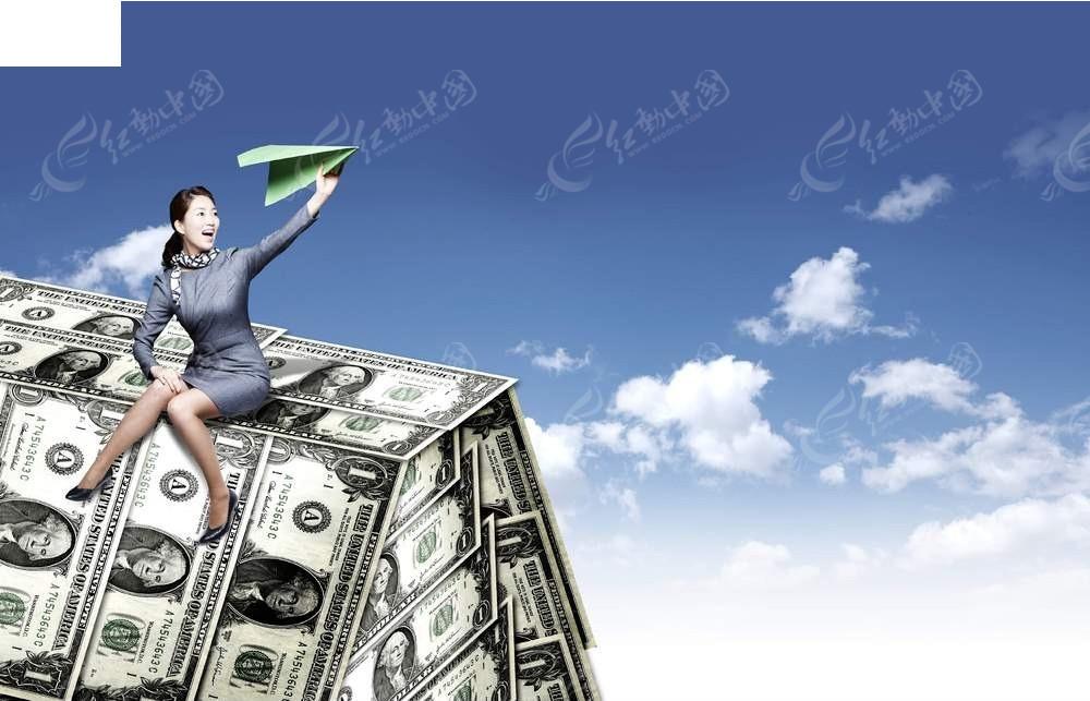 坐在纸钞上放纸飞机商务海报背景素材