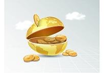 金色地球存钱罐商务海报背景矢量素材
