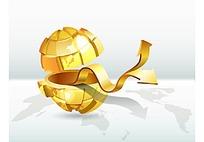 金色地球箭头商务海报背景矢量素材