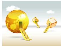 金色地球阶梯商务海报背景矢量素材