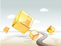 金色方块商务海报背景矢量素材