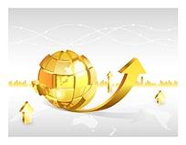 金色上升地球商务海报背景矢量素材