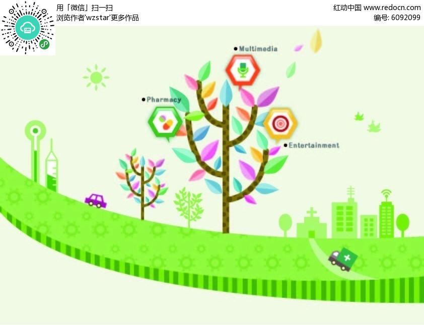 绿色大树素材矢量图ai免费下载