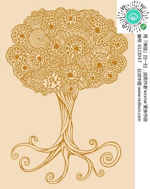 大树创意手绘插画