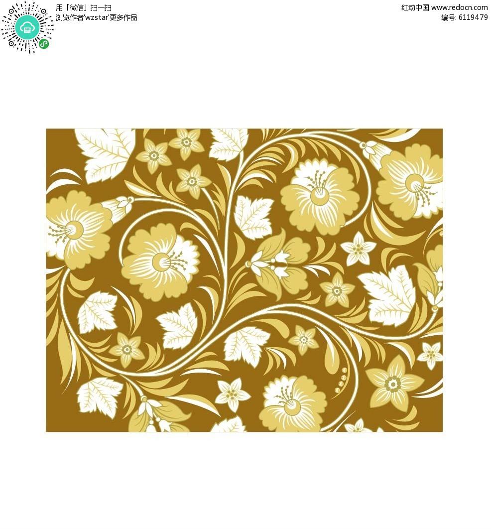 黄色花朵印花矢量素材