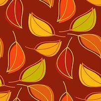 深色树叶印花矢量素材