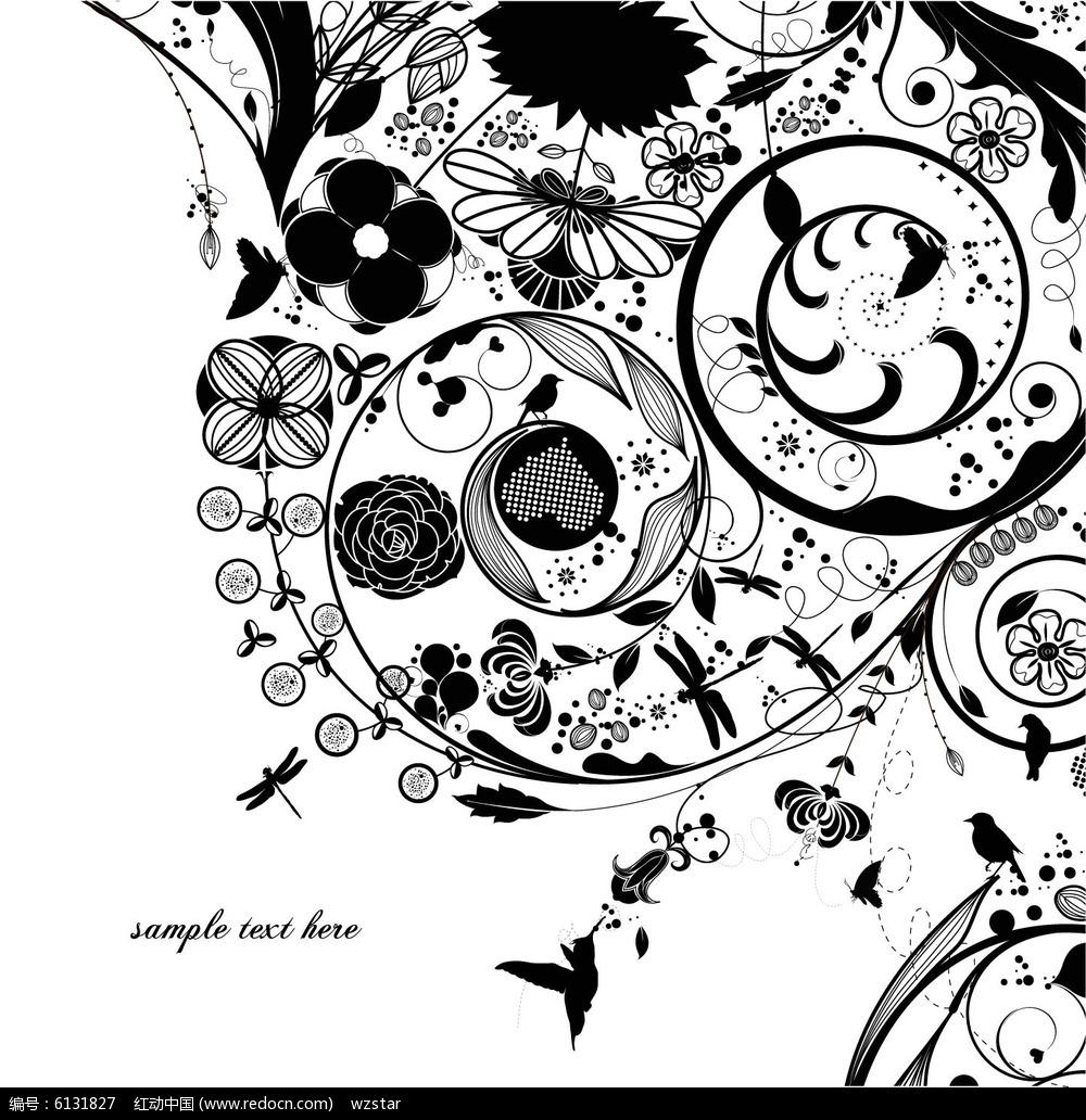 单色手绘植物花纹eps