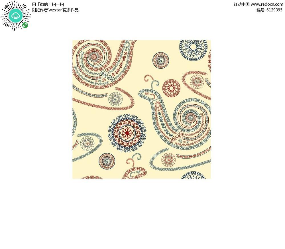 免费素材 矢量素材 花纹边框 其他 复古蜗牛图案矢量素材