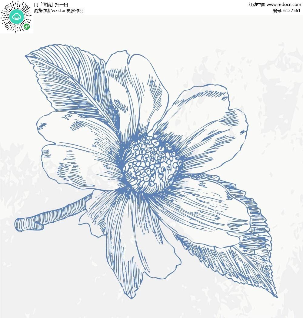 梅花素描装饰画铅笔画花朵花卉