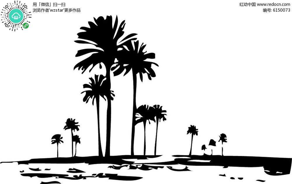 椰子树黑色剪影eps免费下载_其他素材