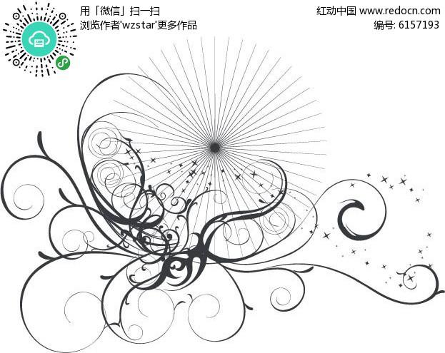 花藤包裹圆形灰光线矢量花纹素材EPS免费下载 编号6157193 红动网