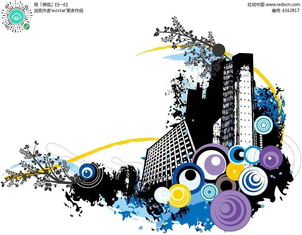 城镇手绘黑白背景设计图片