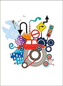 交通插画设计
