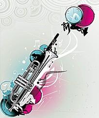 小号乐器插画设计