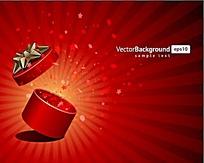 红色打开的礼物盒矢量背景素材