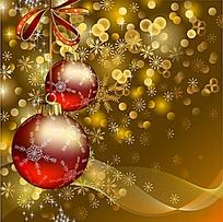 金色花纹圣诞背景矢量素材