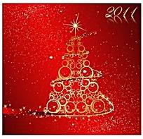 金色圣诞树花纹矢量素材