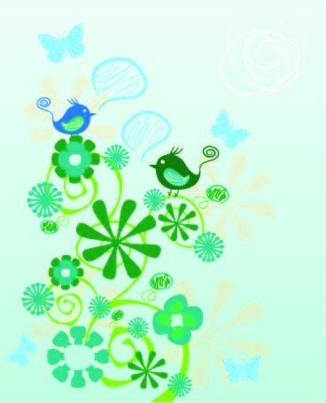 可爱绿色小鸟卡通画背景设计