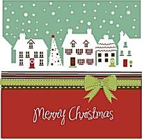 圣诞雪景背景矢量素材