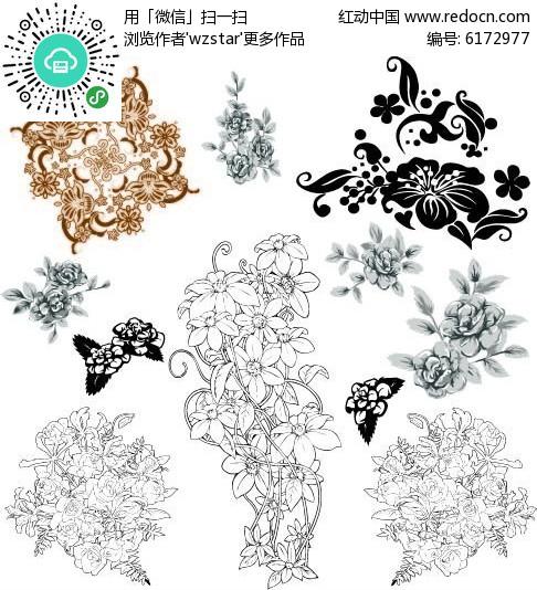 花卉黑白矢量素材