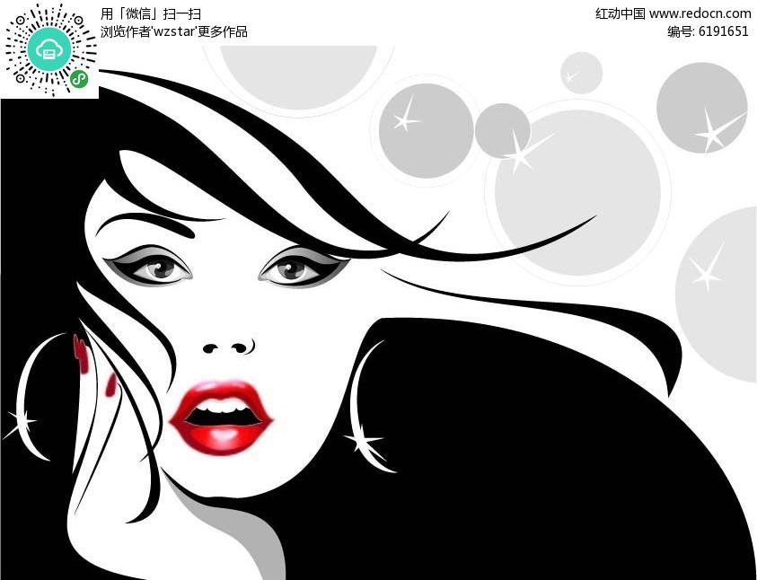卡通性感红唇图片头像