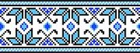 蓝色线条十字绣图案设计