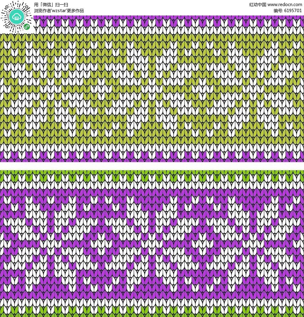 紫色花朵编制图案矢量素材